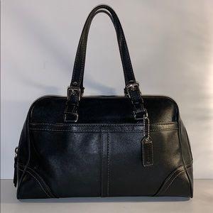 Coach F11198 Hampton smooth black leather satchel